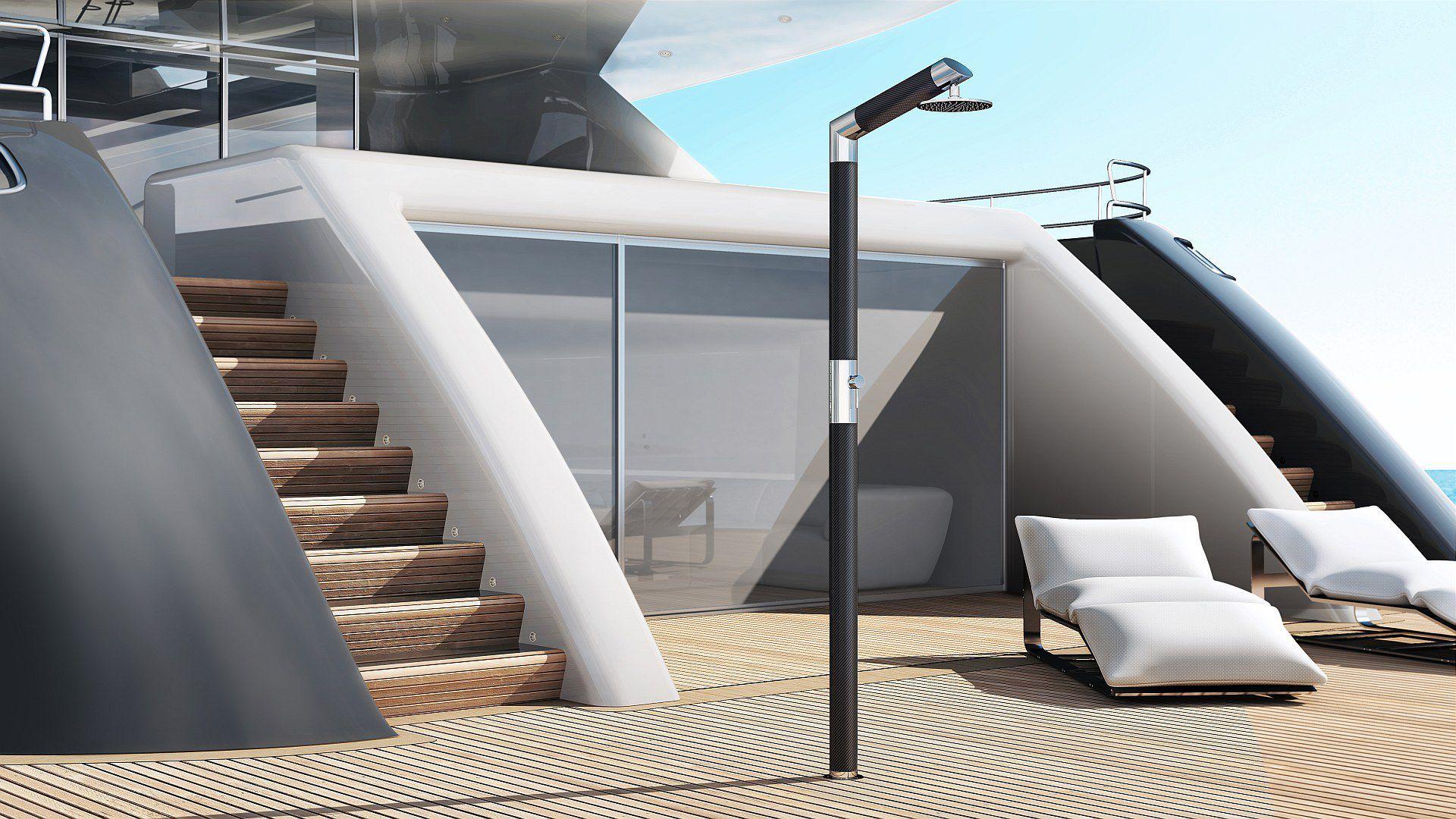 Doccia per yacht in carbonio carbon & steel y sb bc inoxstyle