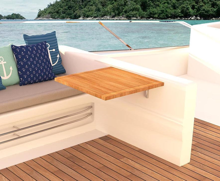 Tavolo per barca pieghevole in teak wing mia marin