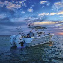 Barca open fuoribordo / bimotore / da pesca sportiva / con T-top