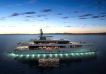 Mega-yacht da crociera / con cabina di pilotaggio / in acciaio / a prua verticale