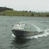 Barca open entrobordo / con dual console / da pesca sportiva / in alluminio