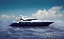 Super-yacht da crociera / raised pilothouse / in composito / con scafo dislocante