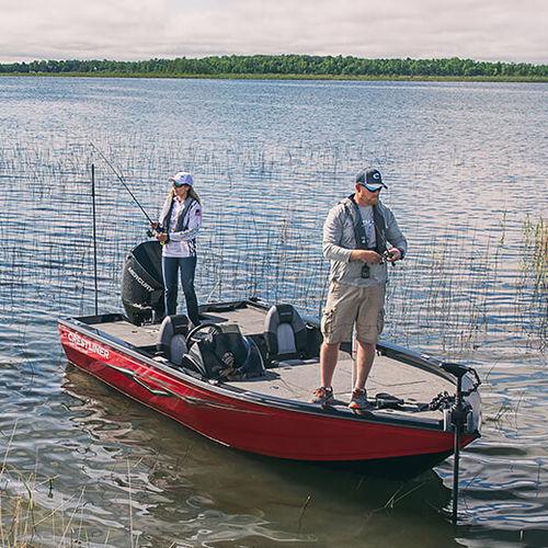 bass boat fuoribordo / con dual console / da pesca sportiva / in alluminio