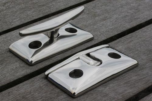 bitta per pontile / piatta / in acciaio inox
