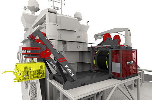 argano per nave / per cavo ombelicale di ROV / per sistema di messa a mare e recupero / con motore elettrico