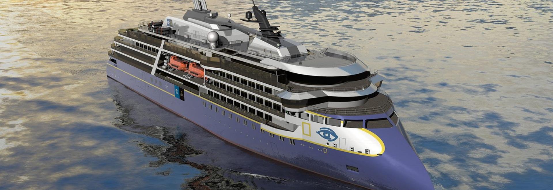 La nuova nave seguirà la resistenza di National Geographic (sopra), che è preveduta per la consegna dal Ulsteinvik di Ulstein, Norvegia, cantiere navale nel 2020