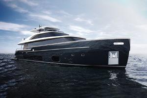 motor-yacht da crociera / con fly / V-drive / in fibra di carbonio