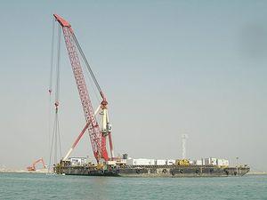 gru su piattaforma galleggiante / per carico pesante / con braccio articolato