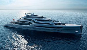mega-yacht da crociera / raised pilothouse / con piscina / con eliporto