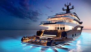 mega-yacht da crociera / raised pilothouse / in acciaio / con piscina