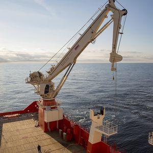 gru per nave / di bordo / con compensazione attiva / con braccio articolato
