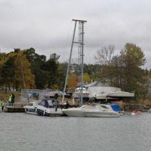 gru su piattaforma galleggiante / di bordo
