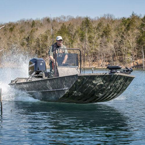 jon boat fuoribordo / con console centrale / da pesca sportiva / in alluminio