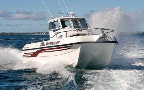 barca da pesca-crociera catamarano / fuoribordo / bimotore / con scafo planante