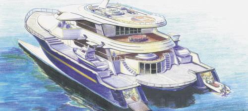 mega-yacht di lusso catamarano a motore