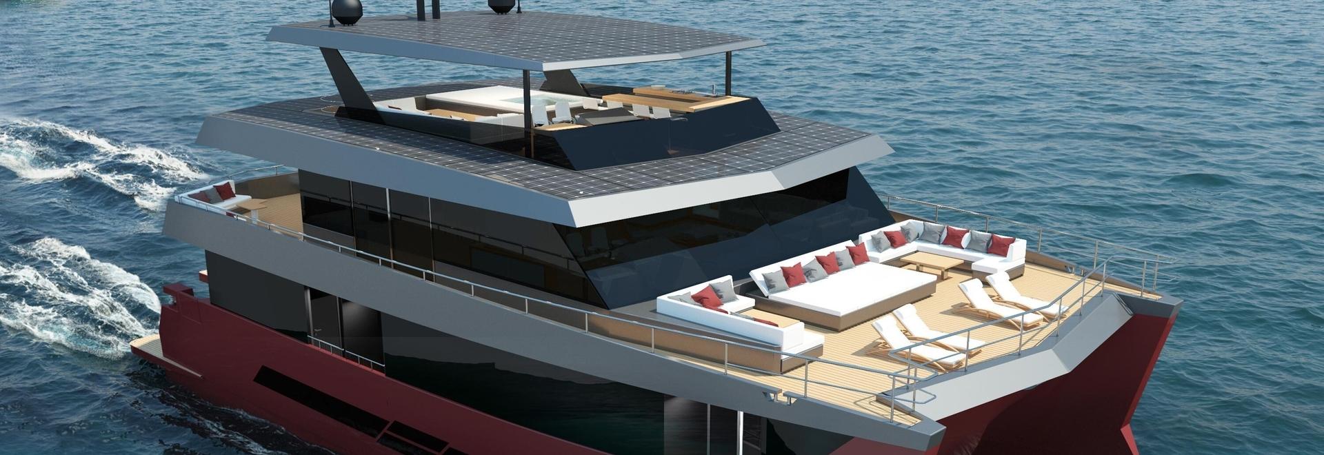 Spaceline 100 Hybrid, un nuovo concetto di catamarano a motore di lusso