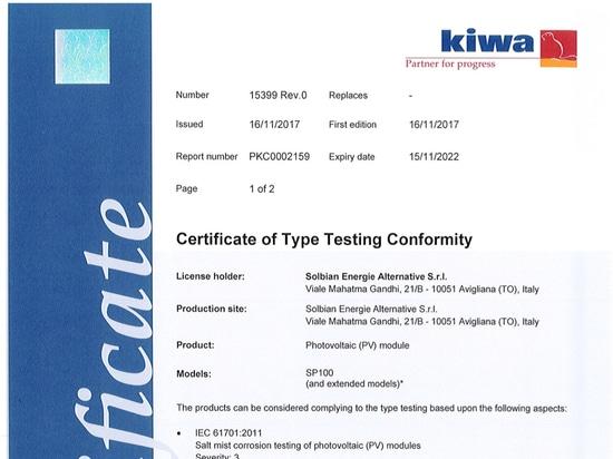 Certificazione IEC 61701 per i prodotti Solbian