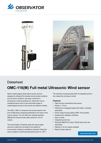 OMC-116(M) Full metal Ultrasonic Wind sensor