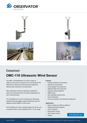 OMC-118 Ultrasonic Wind Sensor