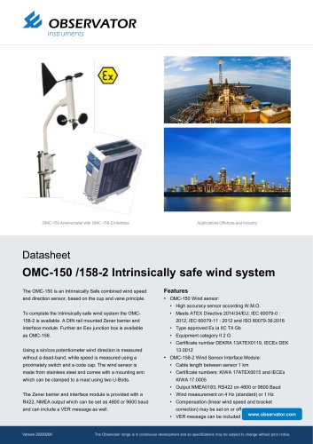 OMC-150 /158-2 Intrinsically safe wind system