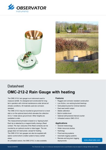 OMC-212-2 Rain Gauge with heating
