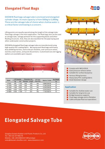 Elongated Float Bag Salvage Tube