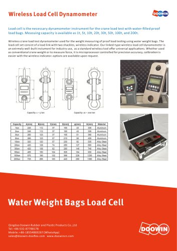 Water Weight Bags Load Cell Dynamometer
