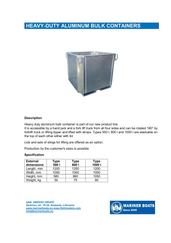 Heavy duty aluminum bulk container