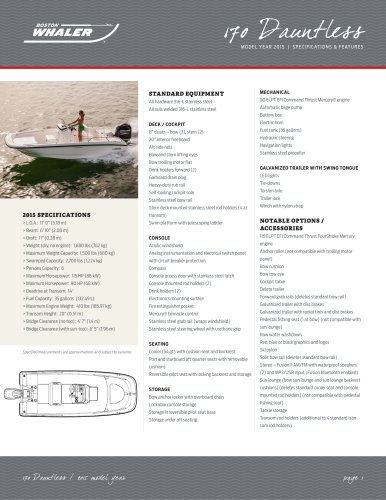 170 Dauntless Specifications - 2015