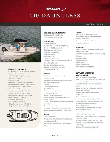 210 DAUNTLESS Specifications 2016