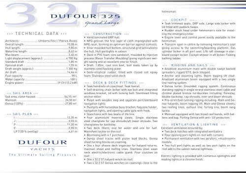 Dufour 325 Grand'large - Standard Description