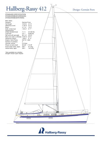 Hallberg-Rassy 412 Standard specifications