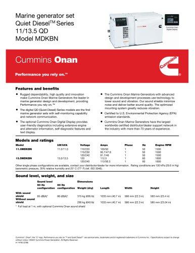 Cummins Onan Marine Generator Set Quiet Diesel™ Series 11/13.5 QD Model MDKBN