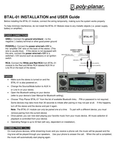 BTAL-01 Installation and user guide