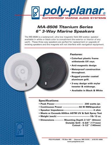 """MA-8506 Titanium Series 6"""" 3-Way Marine Speakers"""
