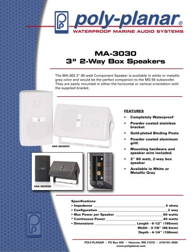 """Poly-Planar MA3030 3"""" Two-Way Box Speakers"""