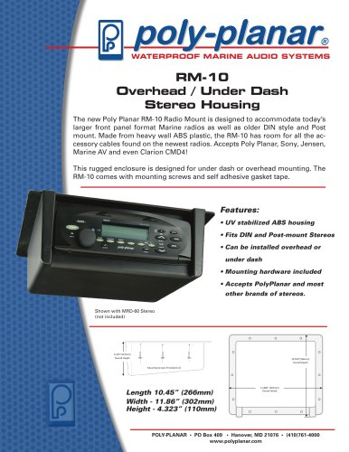 Poly-Planar RM-10 Overhead / Under Dash Stereo Housing
