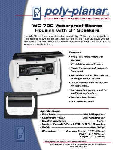 """Poly-Planar WC-700 Waterproof Stereo Housing with 3"""" Speakers"""