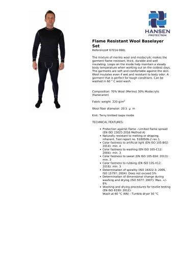 Flame Resistant Wool Baselayer Set
