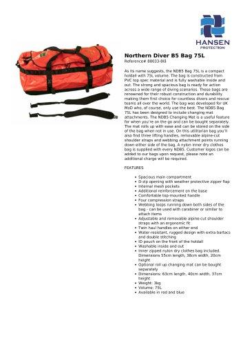 Northern Diver B5 Bag 75L