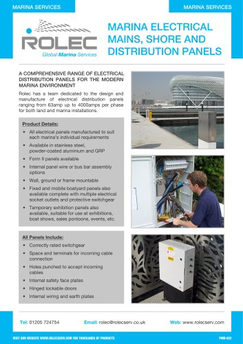 Marina Electrical Mains, Shore and Distribution Panels