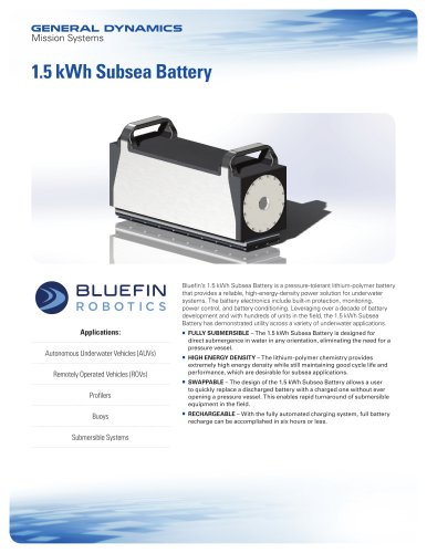 1.5 kWh Subsea Battery