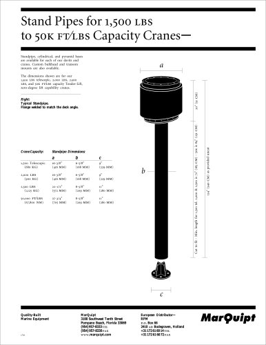 Stand Pipes for 1,500 to 50K FT/LBS Capacity Cranes