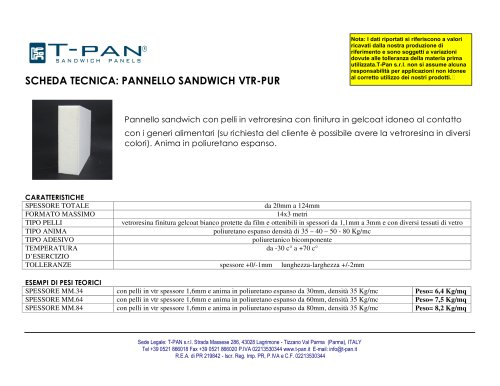 Pannello Sandwich Vtr-Pur