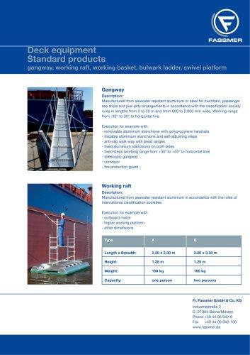 gangway, working raft, working basket, bulwark ladder, swivel platform