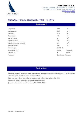 Specifica Tecnica Standard LH 33 – V.2016