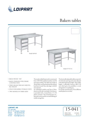 Bakers Table, 1600mm