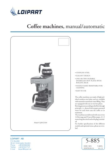 Coffee machines, manual/automatic