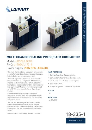 Multi Chamber Baling Press/Sack Compactor, 2 Chambers