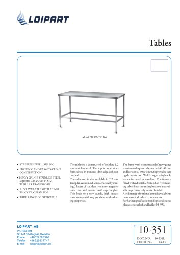 S/S Flat Work Table